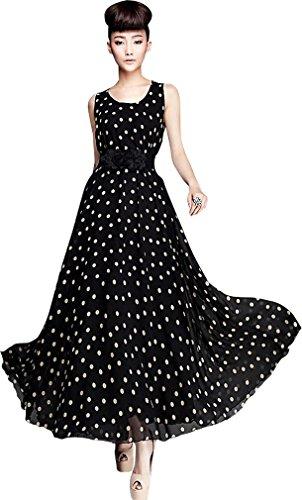 Womens Chiffon Polka Dots Maxi Sleeveless Party Dress