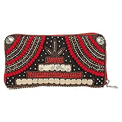 Anekaant Ustav Women Beaded and PU Black and Red Wallet