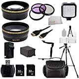 Pro Ultimate Professional Accessory Kit FOR Canon VIXIA HF G30 HF G20 HF G10 HD Camcorder with HD CMOS Includes Wide & Telephoto Lenses + 3 Piece Filter Kit (UV-CPL-FLD) + 2X 32GB SD Cards + Extended Life Replacement Battery (BP-828) + More