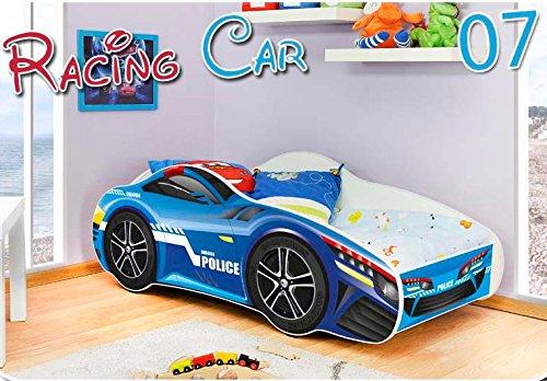 Kinderbett mit Matratze und Lattenrost Auto Bett Cars Baby Rennwagen Lattenrost Spielbett Autobett 70x140cm Blau Police 07