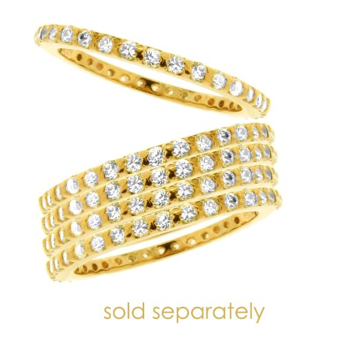 Sterling Silver 925 CZ Vermeil Eternity Ring, 8 ```Special 20% off ``` [Jewelry]