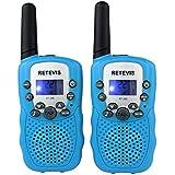 Retevis Kids Walkie Talkie RT-388 UHF 462.5625-467.7250MHz 22CH LCD Display Flashlight VOX Toy 2 Way Radio For Children (Blue, 1 Pair)