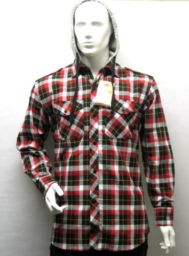 Mens Casual Lumberjack Hooded Check Shirt Jacket (Detachable Hood) in Red, Extra Large (XL)