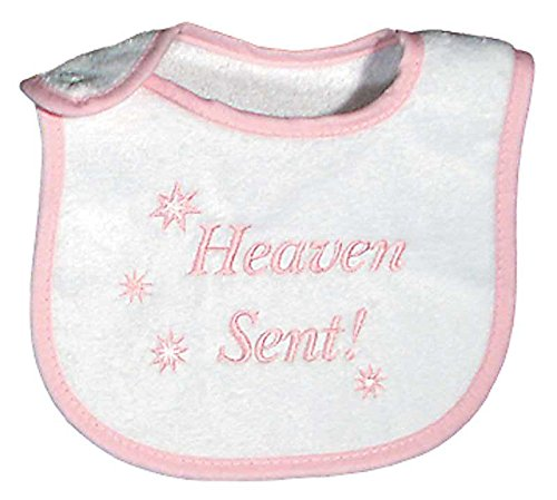 Raindrops Heaven Sent Embroidered Bib, Pink