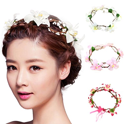 Voberry® Wedding Bridesmaid Boho Floral Flower Festival Forehead Headband Hair Garland (C)