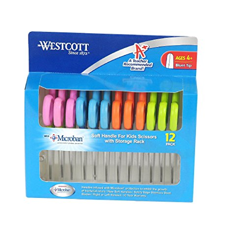Big Save! 2 X Westcott Soft Handle Kids Scissors with Anti-microbial Protection, Assorted Colors, 5-...