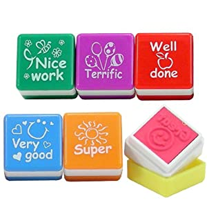 6 x Teachers Stampers WELL DONE, SUPER, GREAT, NICE WORK, VERY GOOD, TERRIFIC