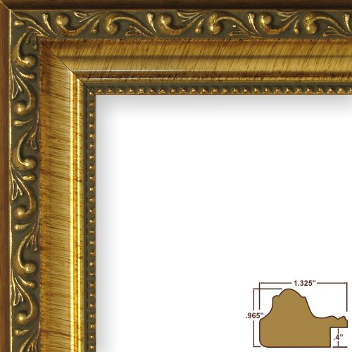 11x14 Picture / Poster Frame, Smooth Brushed Ornate Finish, 1.325
