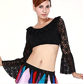 Women's Egypt Belly Dance Paillette Decoration Costumes Long Sleeve Tops Blouse