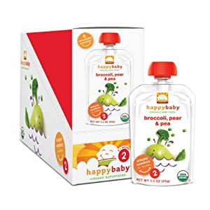 Happy Baby Organic Baby Food 2 Simple Combos, Broccoli, Peas and Pear, 3.5-Ounce Pouches (Pack of 16)