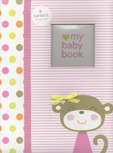 Carter'S Baby Memory Book Dots Stripe Monkey, Girl (Pink) Record Memories And Milestones Of Baby'S 1St 5 Years front-159468