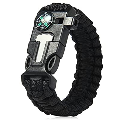 InLife 5 in 1 Outdoor Survival Gear Escape Paracord Bracelet Flint / Whistle / Compass / Scraper