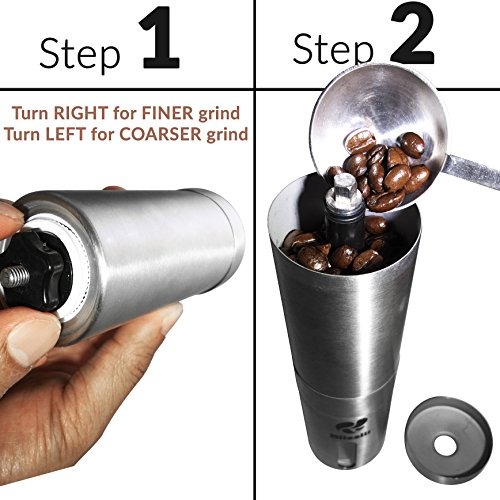 Blisslii Manual Stainless Steel Coffee Grinder with Ceramic Burr and Scoop for Aeropress Coffee Maker