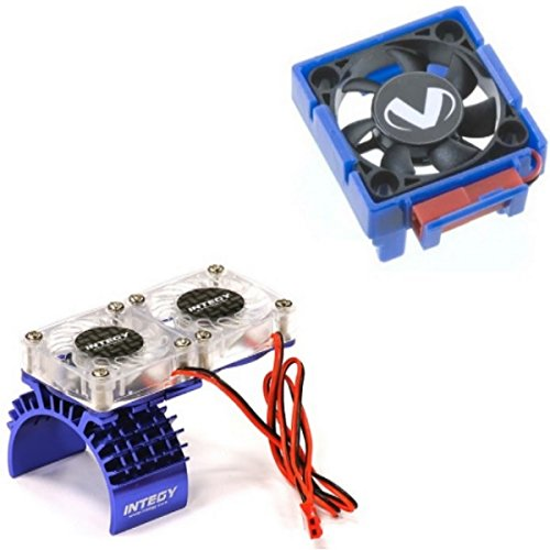 Traxxas Slash 4x4 3340 Cooling Fan + Integy Motor HeatSink Dual Twin Fan T8534B (Traxxas Heatsink Cooling Fan compare prices)