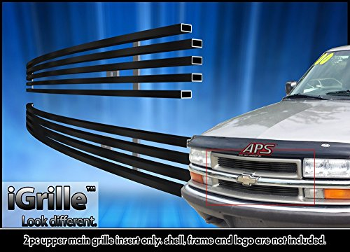 Fits 1998-2005 Chevy Blazer/S-10 Criss Cross Black Stainless Steel Billet Grill #C65705J (S 10 Grill compare prices)