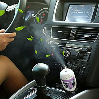Novpeak 12V Car Aroma Diffuser Steam Air Humidifier Purifier and Aromatherapy Essential Oil Diffuser Aromatherapy Mist Maker Fogger with Retail Box