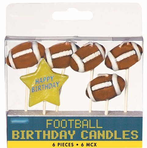 Football Pick Candles - Pack of 6 Candles - 1