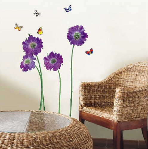 Walplus Flowers Decor Wall Stickers Mural Art, Violet