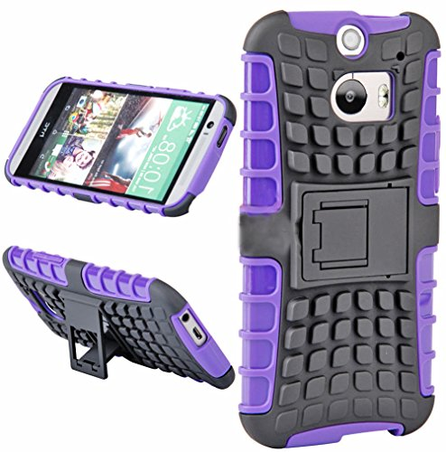 Mylife Lavender Purple And Black {Rugged Design} Two Piece Neo Hybrid (Shockproof Kickstand) Case For The All-New Htc One M8 Android Smartphone - Aka, 2Nd Gen Htc One (External Hard Fit Armor With Built In Kick Stand + Internal Soft Silicone Rubberized Fl