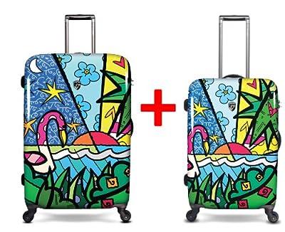 Heys USA - 2pcs. - SET 50 GBP Discount - Britto Palm, High-quality designer artist luggage set - 66 cm and 76 cm 4-wheels Trolley by Heys USA