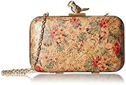La Regale Floral Cork Minaudiere W Parrot Closure Clutch, Tropical, One Size