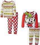 Disney Little Girls'  Holiday Minnie Mouse Four-Piece Pajama Set