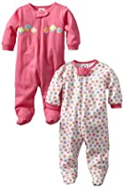 Gerber Baby-Girls  2 Pack Sleep N Play Zip Front Cupcakes, Pink/White, 0-3 Months
