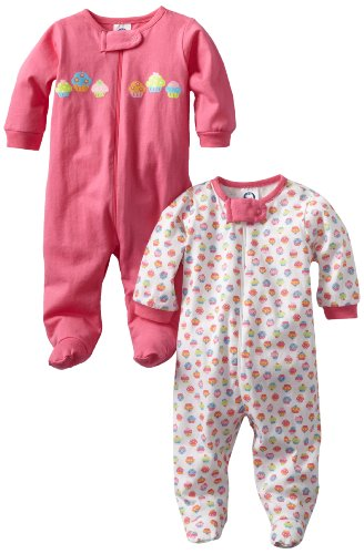 Gerber Baby-Girls Newborn 2 Pack Sleep N Play Zip Front Cupcakes