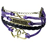 niceeshop(TM) Vintage Style 4 Strands Infinity Double Heart 8 Shape Best Friend Letter Pendant Rope Knit Leather Bracelet-Purple and Black