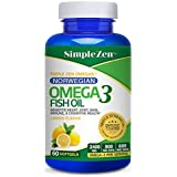 Simple Zen Norwegian Fish Oil Omega 3 Pills - Lemon Flavored Capsules Enteric Coated - 2400 mg Omega-3 - High Dose EPA + DHA Supplements (60 Softgels)