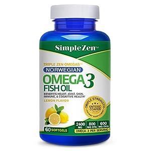 Simple Zen Norwegian Fish Oil Omega 3 Pills - Lemon Flavored Capsules Enteric Coated - 2400 mg Omega-3 - High Dose EPA + DHA Supplements (60 Softgels)