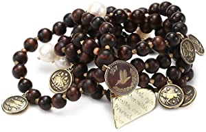"Mercedes Salazar ""Multicharms"" Set of 5 Adjustable Brown Beads Bracelet"