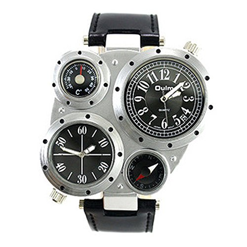 Watch compass thermometer with antique mechanical design (silver / black letter Edition)