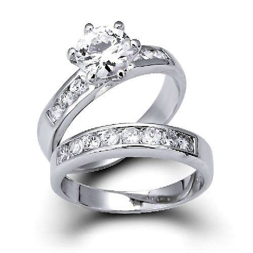 Bling Jewelry Vintage Round Cut CZ Engagement Wedding Ring Set 1.5ct