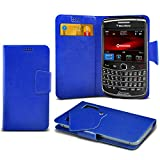 (Black) Blackberry Bold 9780 Protective Mega Thin Faux Leather Suction Pad Wallet Case Cover Skin With Credit/Debit Card Slots Aventus