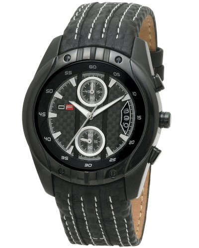DFactory Men's DFU012WBB Black Label Black Dial Leather Chronograph Watch