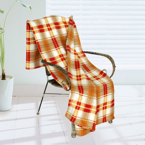 [Trendy Plaids - Khaki/Red/White] Soft Coral Fleece Throw Blanket (71 By 79 Inches) front-474986
