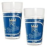MLB Kansas City Royals Pint Glass Set with Metallic Graphics (2-Piece), 16-Ounce, Clear