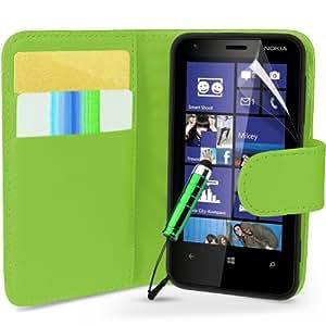 Grün Supergets Hülle für Nokia Lumia 620 Buchstil Klapptasche in Lederoptik mit Karteneinschub, Magnetverschluß Etui Flip Case, Schutzfolie, Reinigungstuch, Mini Eingabestift