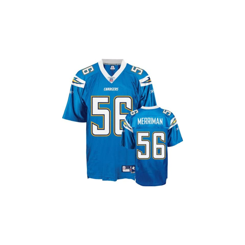 Shawne Merriman #56 San Diego Chargers Replica NFL Jersey Powder Blue Size 50 (Large)