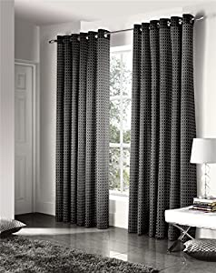 Savoy Black Gold Embroidered Chain Link Lined 46x54 Ring Top Curtains #ztir *as* by Curtains