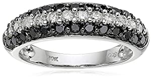 10k White Gold Black and White Diamond Ring (1 cttw, H-I Color, I2-I3 Clarity), Size 8