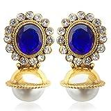 Adiva Copper Stud Earring For Women (Blue)