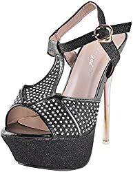 Deccan Shoes Girls Black Satin Sandals (38 EU)