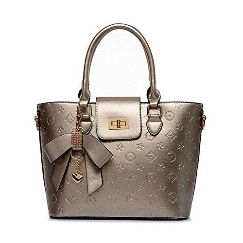Progettista delle donne ESellerbox borse classiche Borsa in rilievo PU borse in pelle Borse frizione Hobos viaggio borse sacchetti di spalla delle donne Champagne