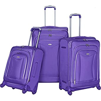 LUXE 3PC EXP. LUGGAGE SET (PLUM)q