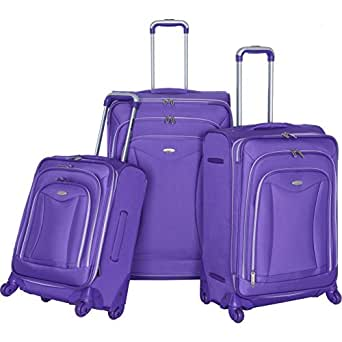 Olympia Luxe 3 Piece Expandable luggage Suitcase Set Plum