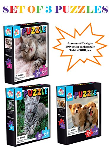 100-Piece-Jigsaw-Puzzles-for-Kids-Set-of-3-Kids-Picture-Puzzles-Age-6-Cat-Puzzle-Puppies-Puzzle-and-White-Tiger-Puzzle