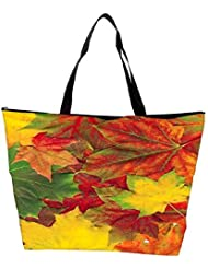 Snoogg Beautiful Autumn Maple Leaves Background Waterproof Bag Made Of High Strength Nylon
