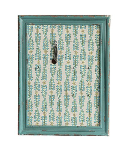 Turquoise Vintage Shabby Wood Plaque Jewelry Holder Wall Key Hook front-312047